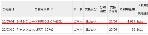 三井住友カード利用明細2