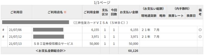三井住友カード支払い明細